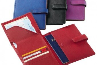 TravelSmith Leather RFID-Blocking Passport-Ticket Wallet