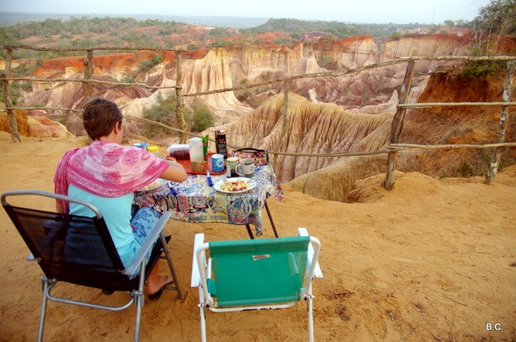 Breakfast with the rising sun at the deserted Marafa Depression in Kenya.