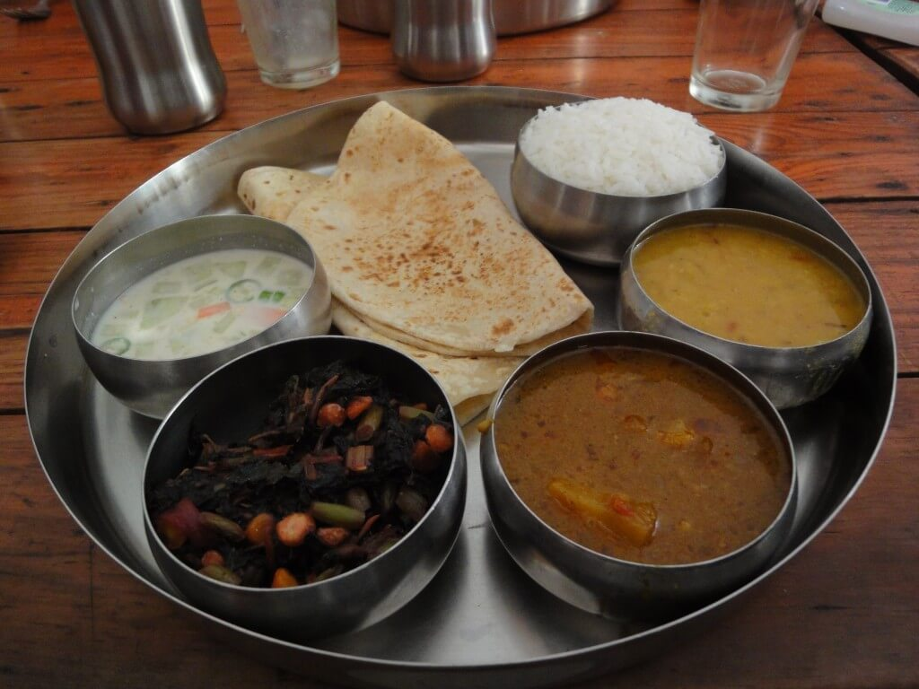 Enjoy a traditional north Indian thali plus other delicacies at Surya Mahal Restaurant.