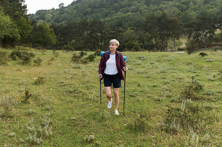 Senior woman traveling outdoor