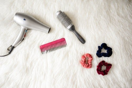 travel hair dryer, comb and brush